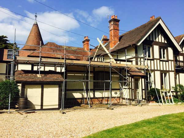 Scaffolding on Tudor Framed House